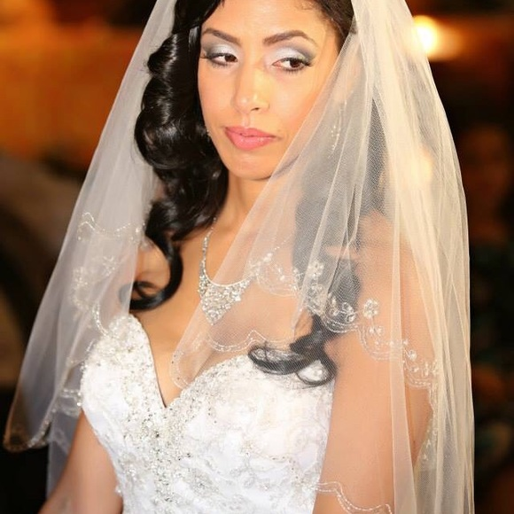 d73ac3f0824 David s Bridal Accessories - Stunning Fingertip 2 Tier Wedding Veil-  crystals
